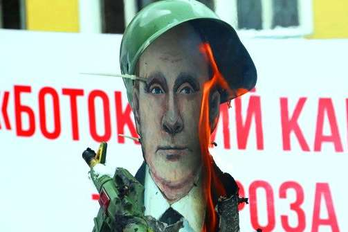 Опудало Путіна спалили у Вінниці (фото, відео)