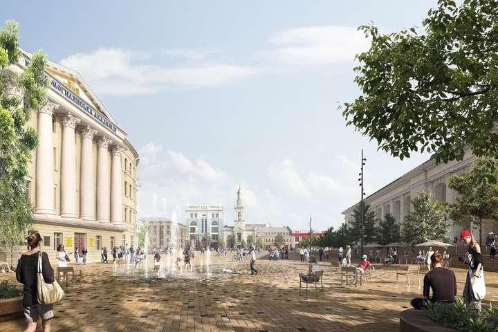 <span>Ескіз проекту пішохідної Контрактової</span> - Контрактова площа і вулиця Сагайдачного стануть туристичною зоною