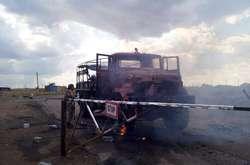 Фото: — Вантажівка ЗСУ після обстрілу