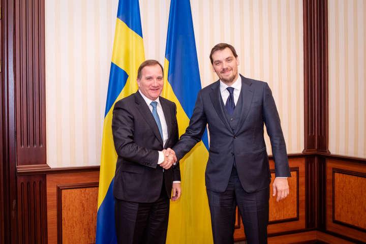 <p>Стефан Левен та Олексій Гончарук</p> - Гончарук обговорив із прем'єром Швеції «Північний потік-2»
