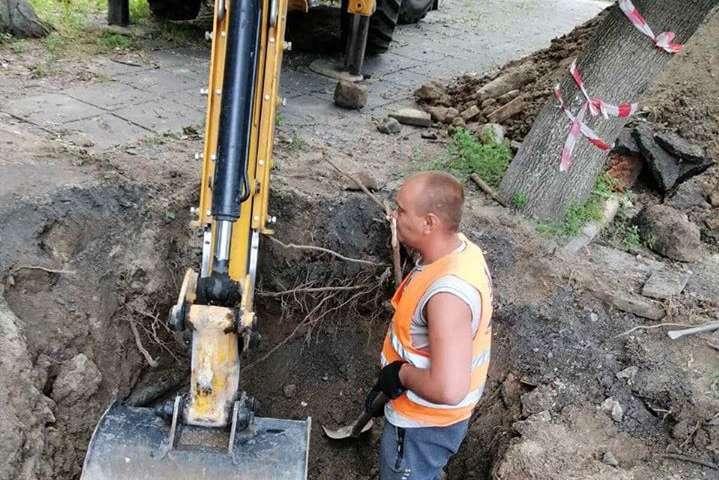 На місці працюють дорожники та власники інженерних мереж - На тротуарі в Києві утворилося провалля через прорив водомережі (фото)