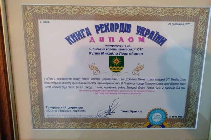 За рекордсменаМихайла Кулика віддали 91,7% голосів на виборах - Місцеві вибори: голова тергромади потрапив до Книги рекордів України