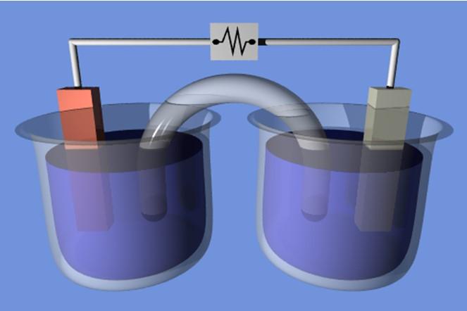 Схематичне зображення осередку для електролізу
