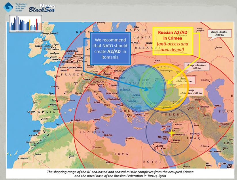 Рубежі досяжності ракетних комплексів РФ морського і берегового базування з окупованого Криму та військово-морської бази РФ в Тартусі, Сирія