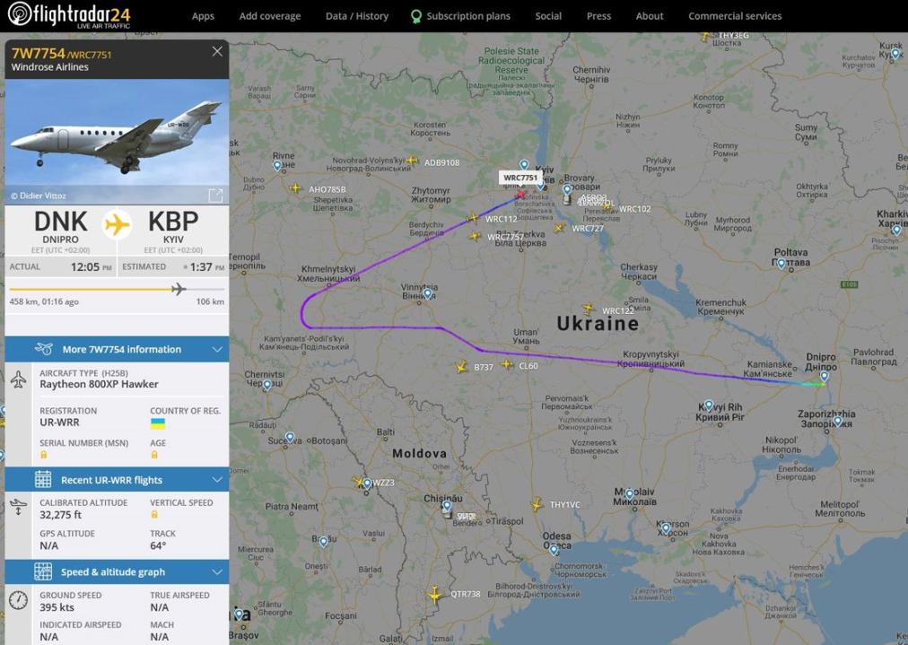 Літак завернули на кордоні. Карта польоту чартера з Яценком на борту