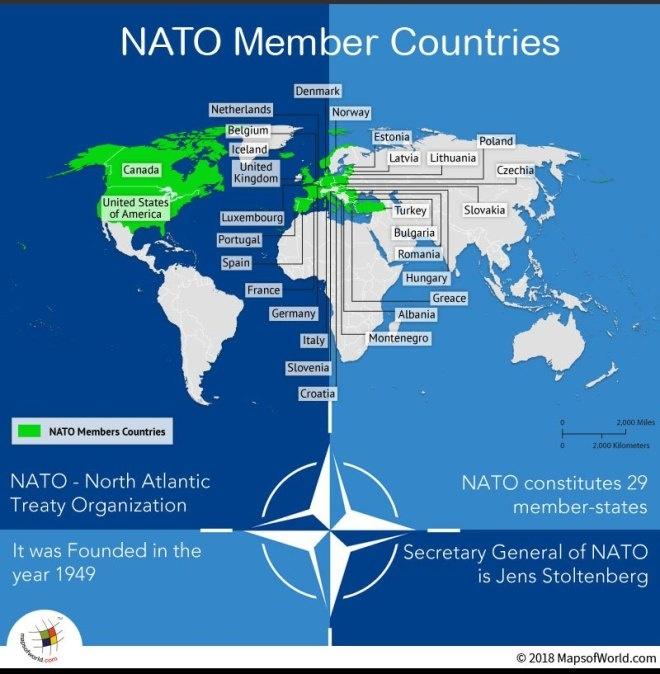 Країни-члени НАТО. Джерело mapsofworld.com.