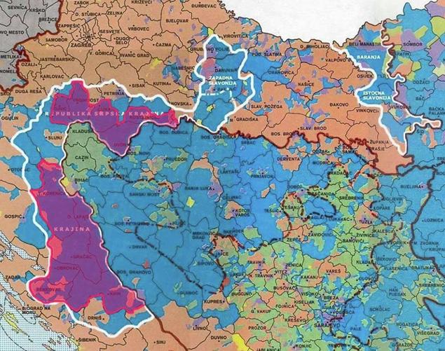 Карта Сербської Країни та плану Z-4. Мал. сербської редакції Sputnik