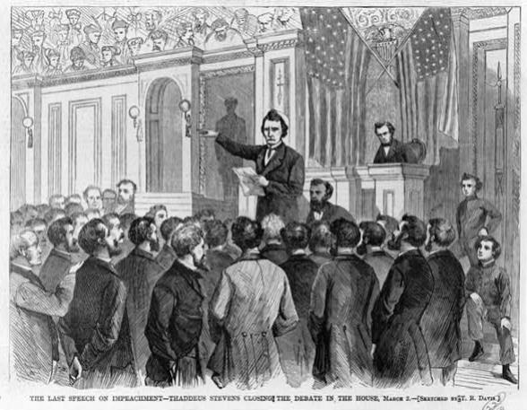 Дебати у Сенаті під час процедури імпічменту президента Ендрю Джонсона у 1868 році