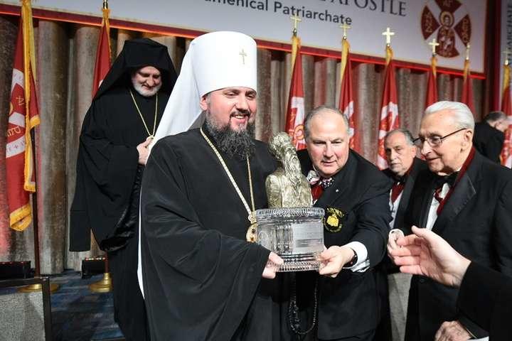 Візит предстоятеля УПЦ Епіфанія до США був приурочений отриманню нагороди за захист прав людини та релігійної свободи