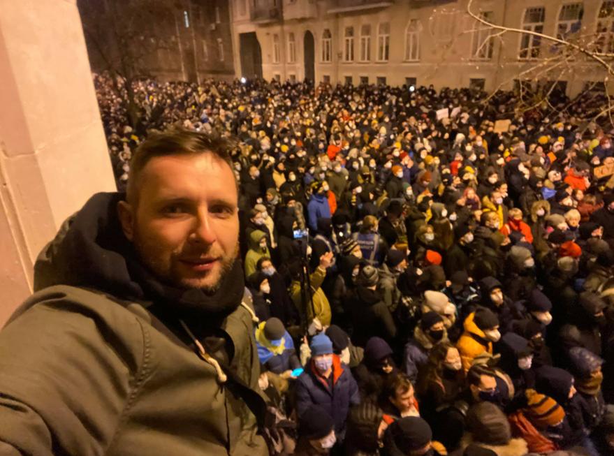 Володимир Парасюк під час акції протесту під Офісом президента. 23 лютого