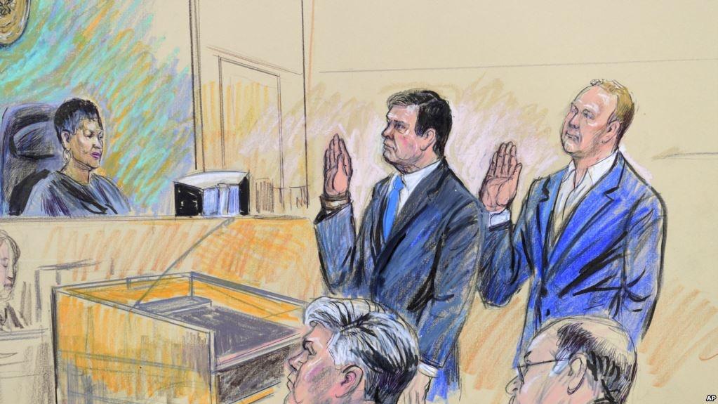 Пол Манафорт та Ричард Ґейтс в суді 30 жовтня. Рисунок судового художника
