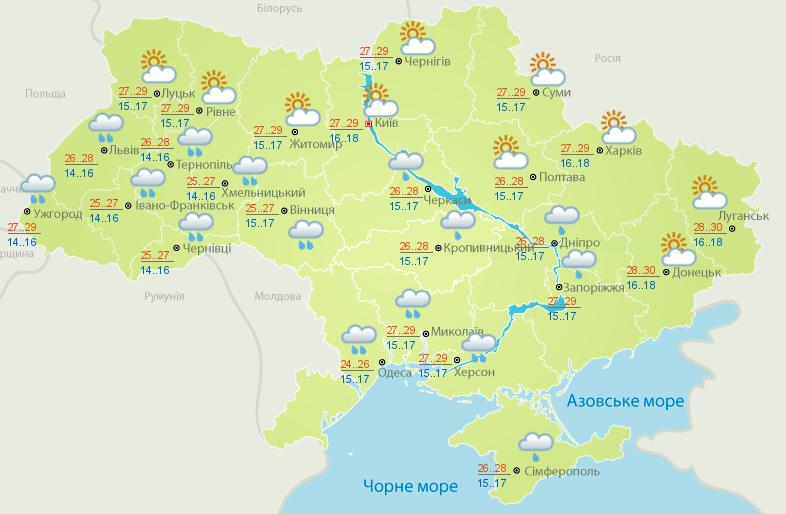 Прогноз погоди в Україні на 19 червня