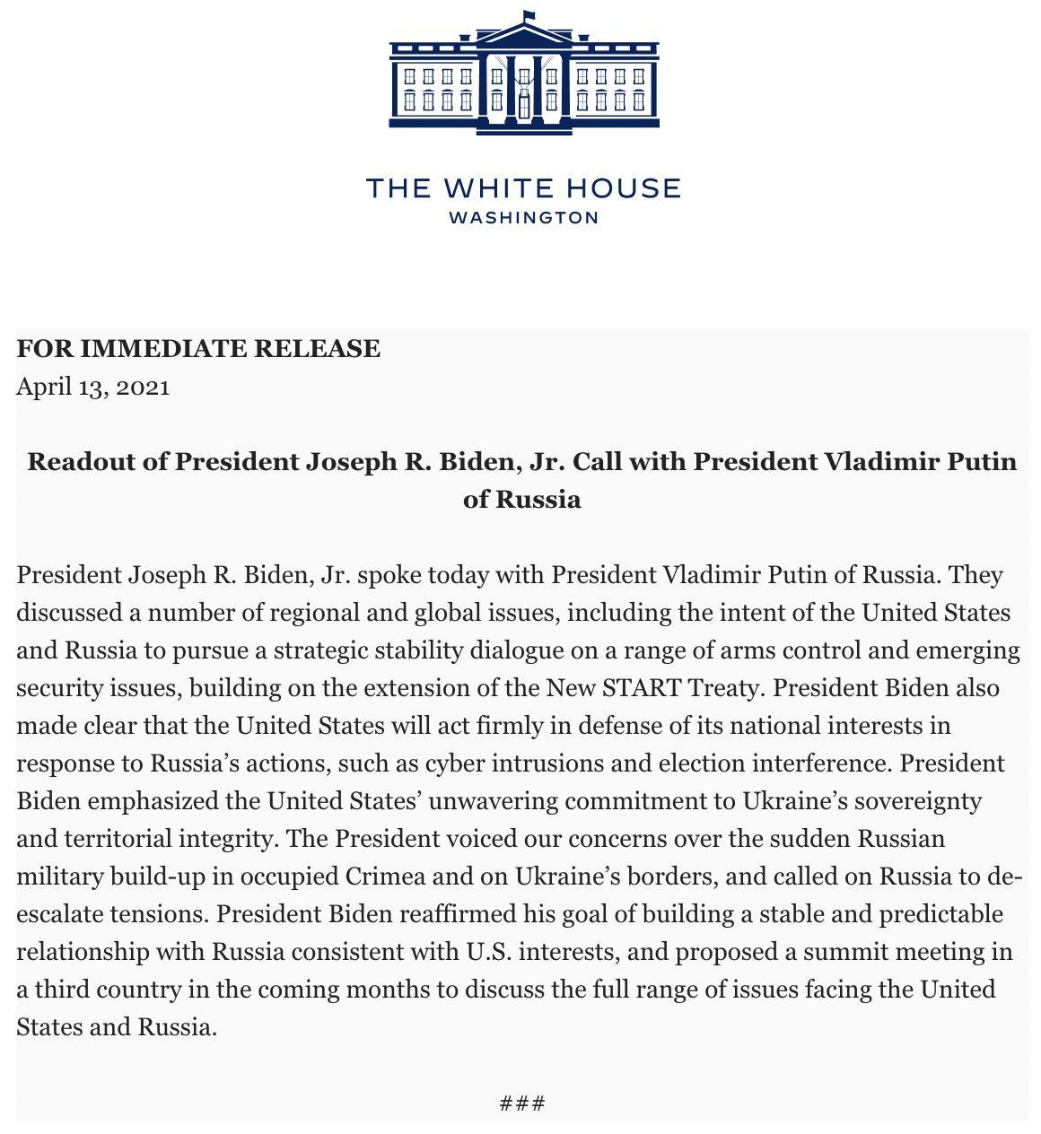 Байден в разговоре с Путиным призвал снизить напряженность на границе Украины