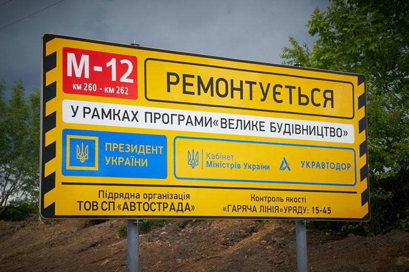 Вказівник про реалізацію президентської програми «Велике будівництво». Фото з сайту Офісу президента