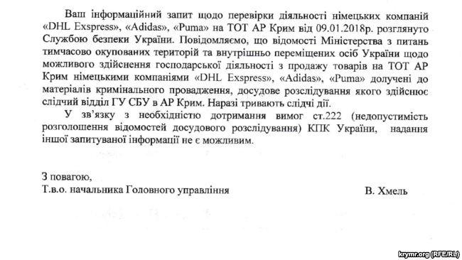 СБУ розслідує можливу роботу Adidas і Puma ванексованому Криму
