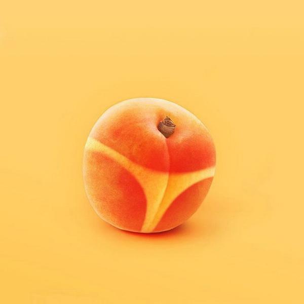 Смешная картинка персика, розы