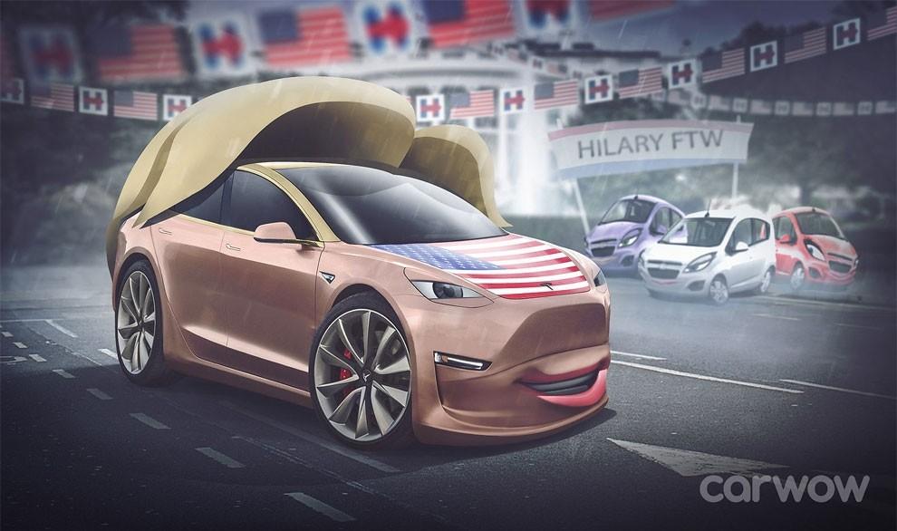 Хиллари Клинтон, кандидат в президенты США от Демократической партии, — Tesla Model 3.