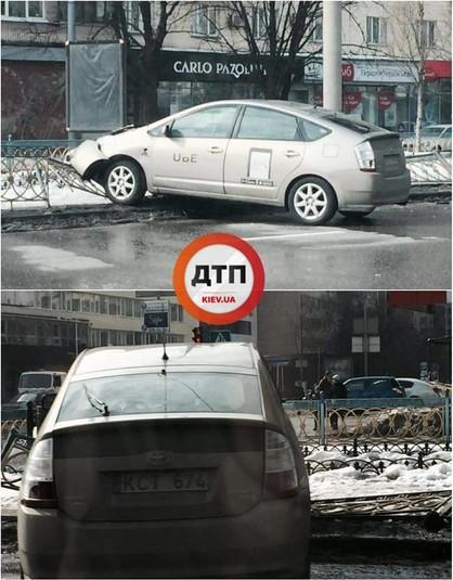 П'яний водій на Uber зніс 10 метрів огорожі у Києві