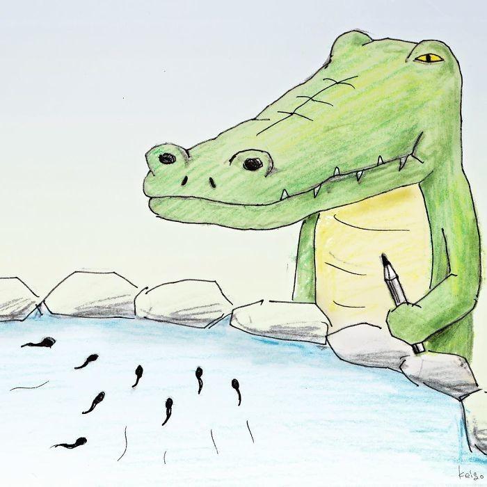 Открытка, картинки прикольного крокодила