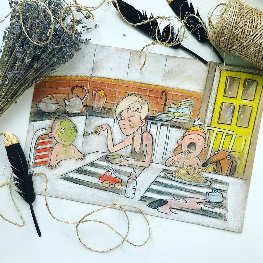 Надписью, картинки мама и дети нарисованные смешные