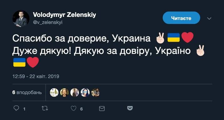 Зеленський завів акаунт президента в Twitter і підписався на Кремль і Медведєва