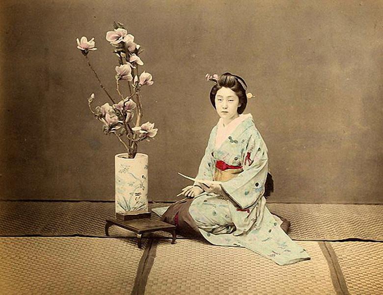 Гейша. Япония периода Эдо. (Фото: Felice Beato).