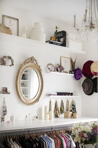 Гардеробная.  Если вам повезло иметь не просто шкаф, а целый закуток для своих вещей и одежды под гордым названием «гардеробная», нам остается вас лишь поздравить и предложить хранить в этой волшебной комнате и книги, особенно если они про моду, красоту, дизайн…им там будет очень хорошо.
