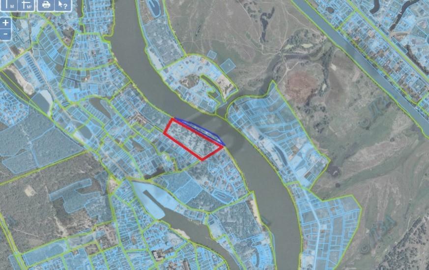 Красной линией обозначен участок Петра Порошенко площадью 3,3 га. Синей – участок в 0,75 га. который в августе 2015-го года Петр Порошенко получил в аренду до 2064 года.
