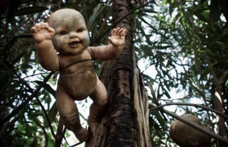 """Остров кукол, Сочимилько (Xochimico). К югу от Мехико, между каналами Сочимилько, находится небольшой остров с жуткой атмосферой, который никогда не планировалось делать местом массового посещения. Этот остров известен под названием """"Остров кукол"""", и, будучи не самым счастливым местом на Земле, стал одной из популярных и необычных туристических достопримечательностей Мексики.  Прибыв на остров, вы увидите сотни жутких игрушек. Они свисают с деревьев и лежат на земле, висят на заборах и верёвках. Их мёртвые глаза смотрят на вас немым укором, а у некоторых вместо глаз — пустые и жуткие отверстия. Их грязные волосы похожи на паутину, а кожа покрылась коркой и начала отслаиваться. Их опухшие конечности разбросаны по земле, а оторванные головы насажены на колья…  Когда-то этот остров принадлежал местному фермеру по имени Дон Хулиан Сантана. Легенда гласит, что в 1950 году он увидел, как в канале утонула маленькая девочка, и её дух стал приходить на это место. Испугавшись, Дон Хулиан начал собирать кукол, чтобы защитить себя от привидения. Он подбирал их на свалках и развешивал по всему острову, словно жуткие рождественские украшения. За полвека он собрал более полутора тысяч этих маленьких ужасных уродцев. Самая старая кукла всё ещё находится на острове: она висит в его сарае, издалека напоминая разлагающийся труп ребёнка.  Местные жители говорят, что по ночам куклы шевелят руками, ногами, и иногда даже слышен их шёпот. А ещё, говорят, на острове живут привидения, поэтому тем, кто захочет сюда попасть, помимо любопытства нужно обладать ещё и смелостью."""